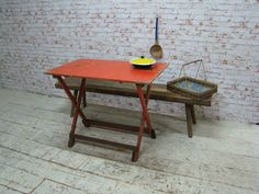 Wooden vintage folding table
