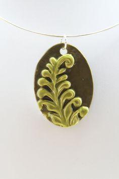 Ceramic Jewelry  Fern pendant by kimjustice on Etsy, $25.00