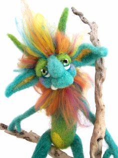 OOAK Custom Made Needle Felt Goblin Fantasy Fiber Wool Soft Sculpture Art Doll. $150.00, via Etsy.