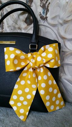 Polka Dot White Mustard Purse Scarf Neck Bow Hair Wrap by CindiLuv