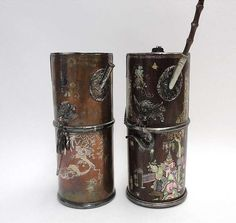 Two metal water pipes & A hardwood box and cover decorated with Mother-of-pearl inlays, Vietnam, 19th century
