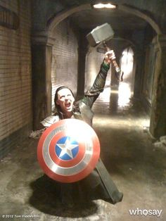 During one lunch break while shooting The Avengers, Tom Hiddleston stole Captain America's Shield and Thor's Hammer. He then texted this photo to Chris Hemsworth and Chris Evans and claimed he wouldn't give them back. - The Avengers (2012)