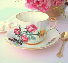 Vintage Tea Cup Set English Bone China Teacup w/ Pink and Yellow Roses | Royal Prince China - England Mid Century | Bridal Gift Tea Party by HouseofLucien