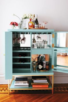 styled aqua bar cabinet | coco kelley