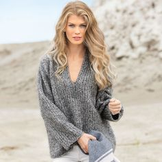 Объемный пуловер из меланжевой пряжи - схема вязания спицами. Вяжем Пуловеры на Verena.ru