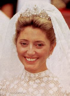 Queen Anne Marie's daughter-in-law, Princess Marie Chantal, nee Miller, who wed Crown Prince Pavlos on 1 July 1995