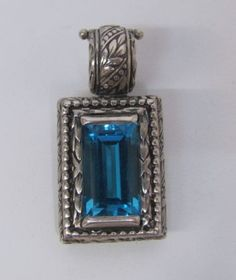 Ned Bowman Silver Sterling Blue Topaz Pendant Awesome Engraving Detail | eBay