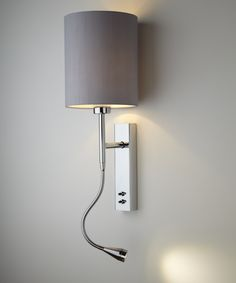 Brenta wall light, bedside wall and LED reading light in chrome plated steel with a gunmetal shade - Chad Lighting Bedside Wall Lights, Bedside Lighting, Bedside Lamp, Bedroom Lighting, Wall Sconces, Gallery Wall Bedroom, Feature Wall Bedroom, Accent Wall Bedroom, Master Bedroom