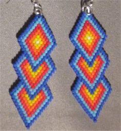 Brightly Colored Triple Diamond Beaded Earrings #1 by Beading4u on Etsy