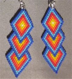 Brightly Colored Triple Diamond Beaded Earrings #1 by Beading4u on Etsy