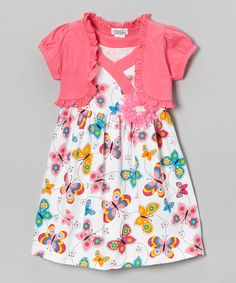 Look what I found on #zulily! Pink Butterfly Dress & Shrug - Infant, Toddler & Girls #zulilyfinds