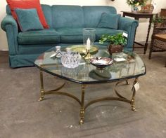 """La Barge Beveled Glass and Brass Coffee Table On Sale   Dealer #104  39"""" Diameter x 15"""" High   Closeout Price $125  Lucas Street Antiques Mall 2023 Lucas Dr.  Dallas, TX 75219  Read more: http://dallas.ebayclassifieds.com/tables/dallas/la-barge-beveled-glass-and-brass-coffee-table-on-sale/?ad=40335988#ixzz3ftlPseS6"""