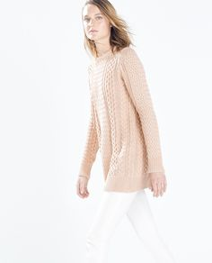 Image 3 of LONG CABLE STITCH SWEATER from Zara  REF. 1822/813