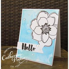 EBE MONDO MAGNOLIA; large flower; watercolor; fishtail; hello; aqua; light blue; black and white; clean and simple; easy; negative die cutting