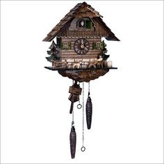 This handcrafted cuckoo clock is sure to bring out the inner German beer drinker in everyone. Made in the Black Forest region of Germany, this chalet style clock unites two of Germany's most valued cultural traditions: drinking beer and making cuckoo clocks. Every detail on this clock is handcrafted by skilled artisans and made from real Black Forest linden wood,Decorative metal pinecones serve as counterweights to the strikes and cuckoo calls that come on both half and full hours.$358.20