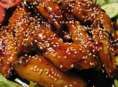 Great appetizers, or finger foods for parties. They are delicious and finger lickin' good.Also great tailgating grilling party food. Sesame Chicken Wings Recipe, Healthy Sesame Chicken, Chicken Wing Recipes, Teriyaki Chicken, Asian Chicken, Bbq Chicken, Great Appetizers, Main Meals, I Love Food