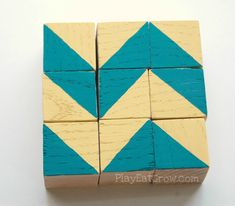 These #DIY wooden block puzzles would be a great addition to a shoebox gift!