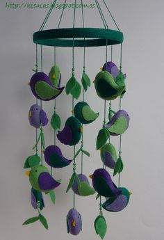 Felt mobile with birds. by Kosucas on Etsy, €42.00