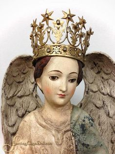 "SantosCageDoll.com — 25"" Paper Mache Santa Maria Angel Statue"