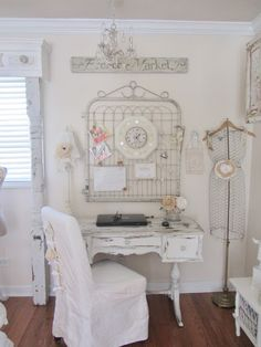 shabby chic old gates - Google Search dining room: cover chair, table cover to hide storage,
