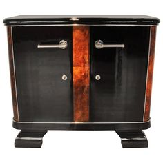 French Art Deco Commode with Burl Wood Details | From a unique collection of antique and modern commodes and chests of drawers at https://www.1stdibs.com/furniture/storage-case-pieces/commodes-chests-of-drawers/