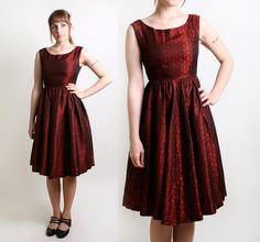 Vintage Cocktail Dress in Deep Ruby Red - 1950s 1960s Evening Fashion - Small to Medium Mad Men. $110.00, via Etsy.