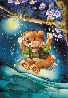 Interlitho, Michele, CUTE ANIMALS, paintings, bear on swing(KL3611,#AC#) illustrations, pinturas