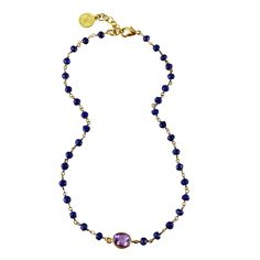 Wendy Mink Lapis Rosary with 18k Gold Plated Sterling Silver Amethyst Bezel Set Choker Necklace