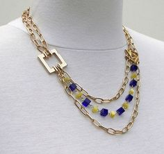 Gold Chain Necklace Color Blocked Necklace by SouthernMossEmporium, $44.00