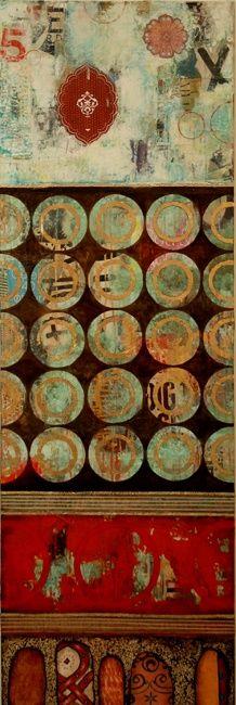 "Jill Ricci, ""Five Times a Charm"", mixed media on canvas, 24x60"""