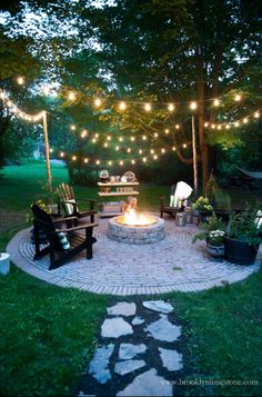 Round Firepit Area Idea for Nighttime #firepitideas #firepit