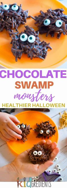 Chocolate swamp monsters, a healthier halloween treat. Only 5 ingredients! Perfect for a sweet treat that isn't too naughty! Chocolate swamp monsters, a healthier halloween treat. Only 5 ingredients! Perfect for a sweet treat that isn't too naughty! Halloween Tags, Halloween Desserts, Fairy Halloween Costumes, Halloween Treats For Kids, Halloween Birthday, Easy Halloween, Halloween 2018, Halloween Oreos, Spooky Treats