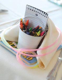 Wedding reception: kids-table-favors