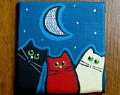 2 x 2 inch Mini Canvas Panel original painting  Color Cat Trio at Night by Nancy Woolmer