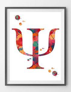 Psychology Symbol Art Print Psychiatry Psychotherapy Watercolor Poster Psychology Giclee Print Psi Symbol Psychiatry Clinic Art Gift