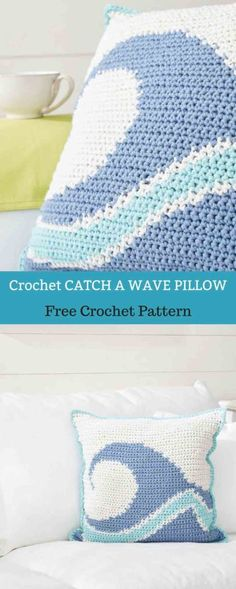 CATCH A WAVE CROCHET Pillow [ Free Crochet Pattern ] | All About Patterns #freecrochetpattern #freecrochet #crochet3 #easycrochet #patterncrochet #crochettricks #crochetitems #crocheton #thingstocrochet