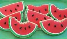 Adorable Watermelon (shaped) Cookies❥ via  #martablasco ❥ http://pinterest.com/martablasco/