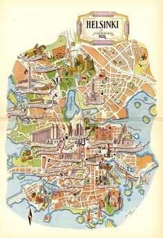 1952 Vintage Helsinki Finland Picture Map of Finland Pictorial Cartoon Map Collector Gift For Traveler Birthday Wedding Anniversary 8616 by plaindealing on Etsy