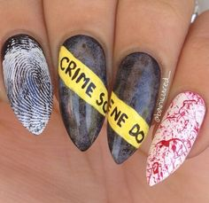 can't wait for Halloween Halloween crime scene nails #fingerprint