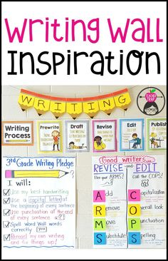 Creating a classroom writing wall is a great way to support your Writing Workshop and to help students remember the writing process, revising and editing goals, and other writing tips. Post all your writing anchor charts in one spot for quick reference! Writing Strategies, Writing Lessons, Teaching Writing, Writing Skills, Writing Workshop, Writing Jobs, Writing Ideas, Sentence Writing, Teaching Tools