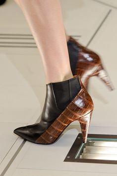 Booties - croc - animal - brown - leather - black - pointy toe