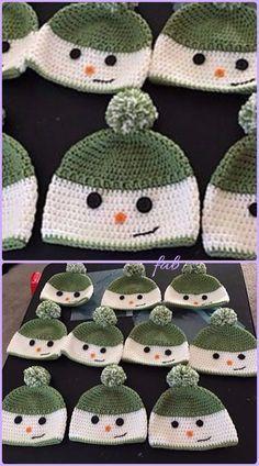 Crochet Beanie Patterns Crochet Happy Snowman Hats Free Pattern - Crochet Snowman Hat Free Patterns: Winter hat, flap ear hat for kids, Christmas gift crochet Gilet Crochet, Crochet Kids Hats, Crochet Beanie Pattern, Knit Or Crochet, Crochet Gifts, Crochet Stitches, Crocheted Hats, Crotchet, Easy Crochet Hat