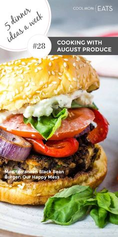 We love late summer corn, peppers, ripe tomatoes and more, so we've got 5 delicious family-friendly dinner ideas to help you make the most of it! Like this Mediterranean Black Bean Burger from Our Happy Mess -- though any burger at all works here! | Subscribe to 5 new recipes a week like these, right in your inbox from Cool Mom Eats | Meal Planning | Summer Recipes | Family Dinner | Grilling | Fresh Fruit | Fresh Vegetables | Summer Produce #familyrecipe #summerrecipe #grilling #augustproduce Dinner Recipes Easy Quick, Vegetarian Recipes Dinner, Easy Healthy Recipes, Summer Recipes, Easy Vegetable Recipes, Healthy Family Dinners, Meal Planning, Bean Burger, Late Summer