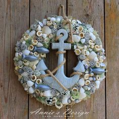 Nautical Wreath, Seashell Wreath, Seashell Crafts, Sea Crafts, Cute Crafts, Crafts To Do, Pine Cone Art, Seahorses, How To Make Wreaths
