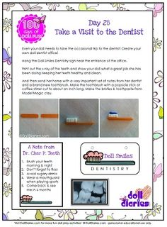 Doll Play Dentist Office printable - day 28 of 100 Days of Doll Play