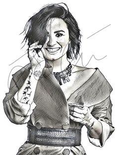 Demi Lovato Pencil Sketch Hand Drawn Print #DEMI_SKETCH5 – ArtByZakia Drawing Sketches, Pencil Drawings, Demi Lovato, My Idol, How To Draw Hands, Illustration Art, Inspiring People, Portrait, Celebrities