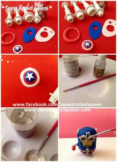 Superheroes Minions #1: Tutorial Captain Minion - CakesDecor Minion Superhero, Superhero Party, Fimo Clay, Polymer Clay Projects, Biscuit, Clay Minerals, Making Fondant, Minions Despicable Me, Fondant Tutorial