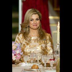 La reine Maxima des Pays-Bas au Palais de l'Élysée à Paris, le 10 mars 2016