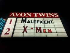 Maleficent on the marquee of the Avon Theater in downtown Decatur Illinois