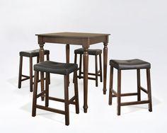 Crosley Furniture KD520012MA 5 Piece Pub Dining Set with Turned Leg and Upholstered Saddle Stools in Vintage Mahogany Finish